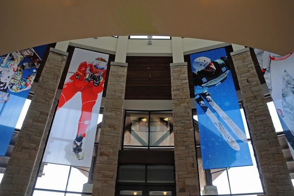 Banners of champion athletes hand in the lobby of the USSA's Center of Excellence in Park City, Utah.
